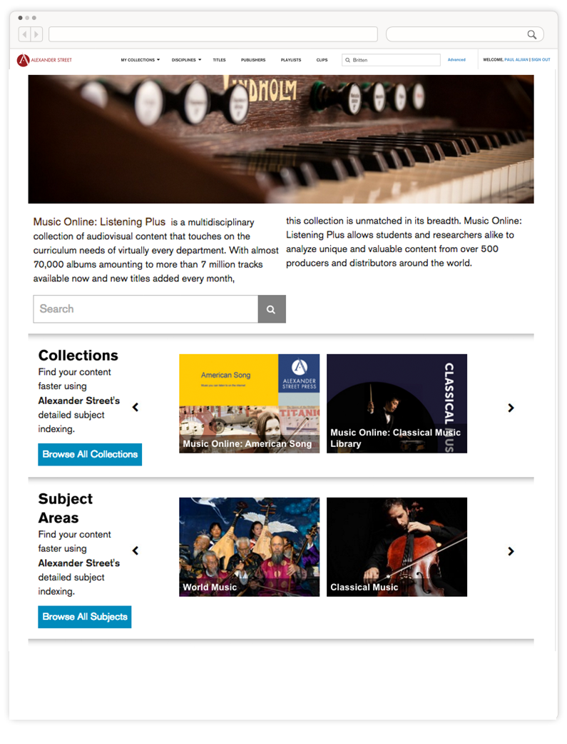Music Online: Listening | Alexander Street
